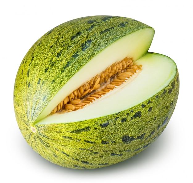 Comer melón verde aislado