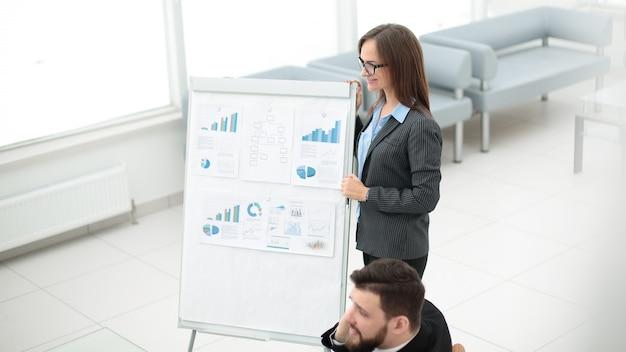 El comercializador hace una presentación para el equipo empresarial
