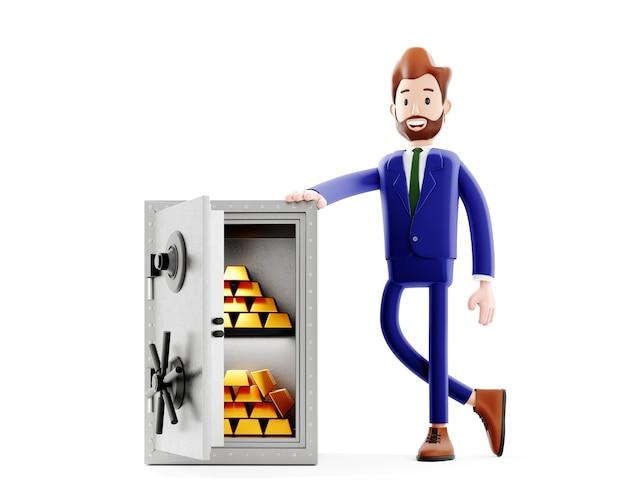 Comerciante exitoso o jefe de oficina de pie cerca de caja fuerte abierta con barras doradas