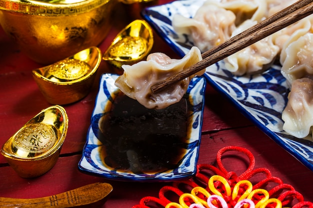 Comida china de año nuevo jiaozi