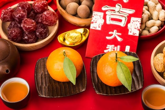 Comida y decoración del festival del año nuevo chino