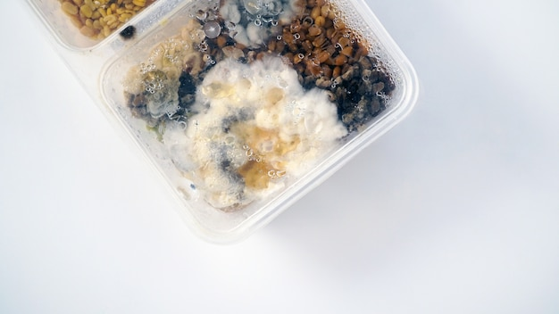 Comida estropeada en un contenedor de caja de plástico