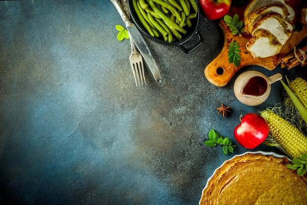 Comida festiva de acción de gracias