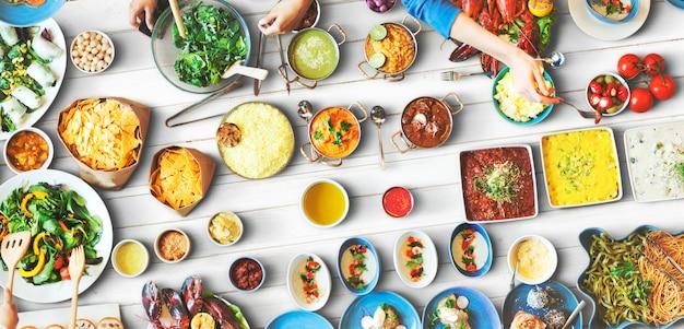 Comida festiva restaurante fiesta unidad concepto