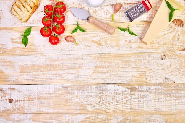 Comida italiana . listo para cocinar fondo de marco de comida