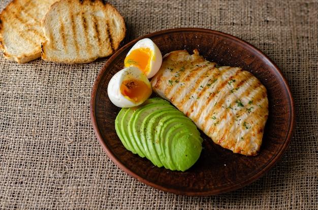 Comida saludable pechuga de pollo a la parrilla con aguacate, tostadas y huevo cocido suave sobre saco. vista superior, copyspace