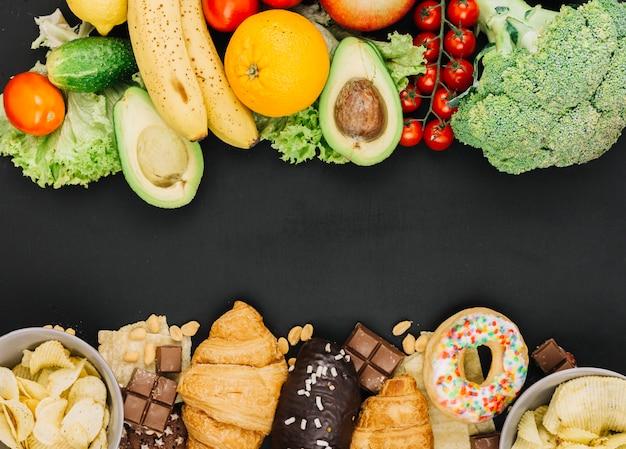 Comida saludable vs comida insaludable