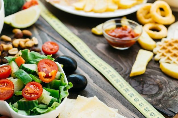 Comida saludable vs comida poco saludable