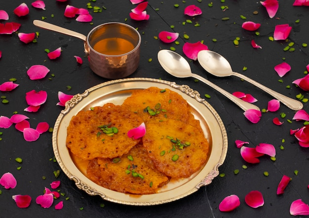 Comida tradicional india tradicional dulce malpua o amalu