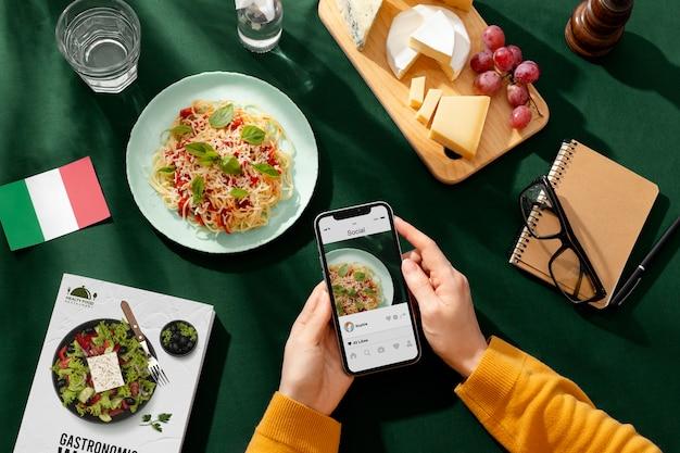 Comida tradicional italiana en el día mundial del turismo.