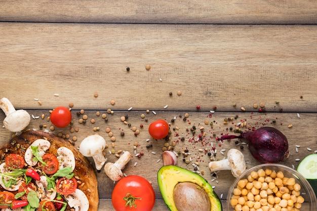 Comida vegana saludable con espacio de copia