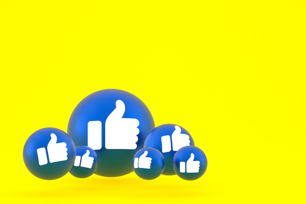 Como el icono de facebook reacciones emoji render, símbolo de globo de redes sociales sobre fondo amarillo
