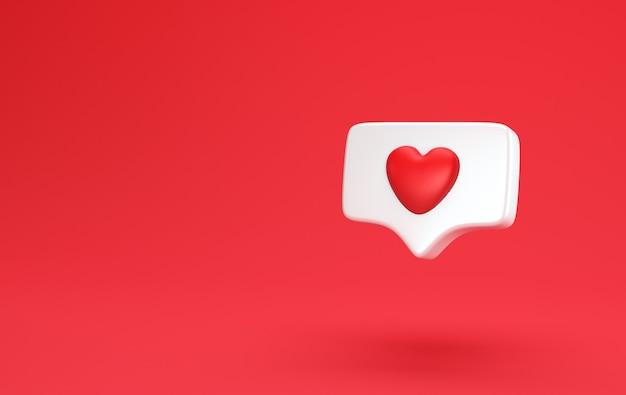 Una como notificación de redes sociales con el icono del corazón. concepto mínimo concepto de amor de redes sociales 3d render