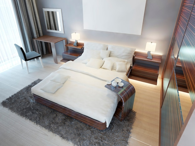 Cómoda habitación de estilo contemporáneo con muebles de color marrón zebrano. tocador, cama king size y amplio armario corredizo con espejos. render 3d.