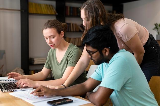 Compañeros de universidad estudiando juntos