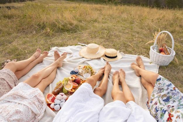 La compañía de amigas relajantes en el picnic de verano. concepto de picnic de verano estilo rural.