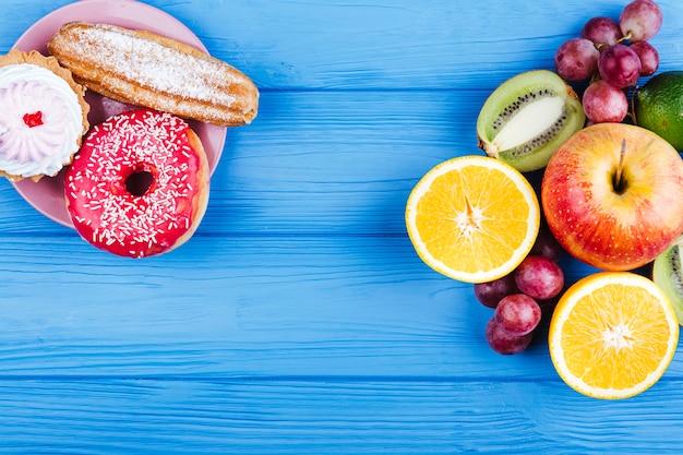 Comparación entre dulces y espacio de copia de fruta