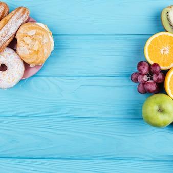 Comparación entre dulces y frutas