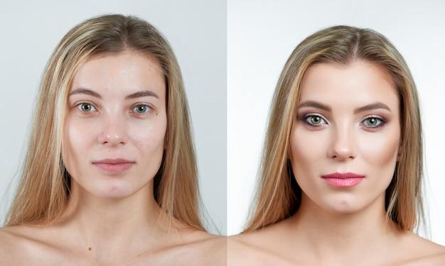 Comparación de una hermosa chica rubia sin y con maquillaje