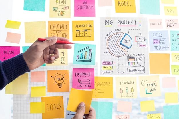 Compartiendo conceptos de ideas con la estrategia de escritura de notas en papel en la oficina de vidrio de pared.