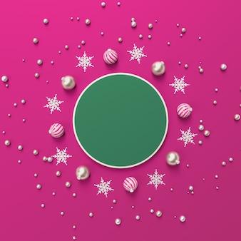 Composición abstracta 3d con forma geométrica para la exhibición del producto. fondo de navidad de invierno