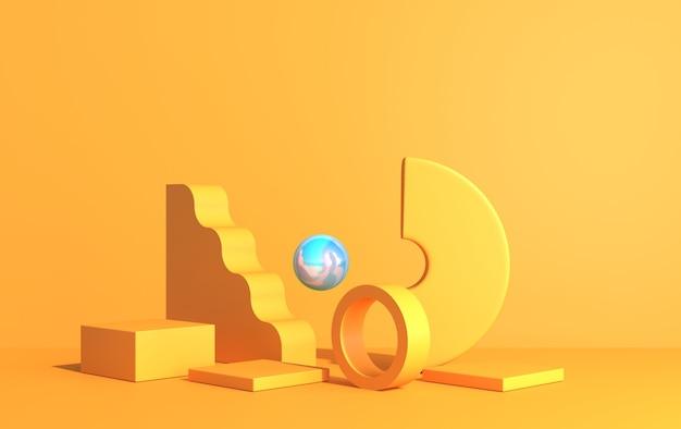 Composición abstracta de formas geométricas en estilo art deco y podio para exhibición de productos, color amarillo, render 3d