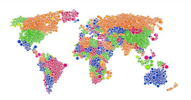 Composición abstracta ráster multicolor del mapa mundial construido con elementos de esferas. ilustración de renderizado 3d