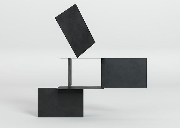 Composición abstracta de tarjetas de visita de espacio de copia negra
