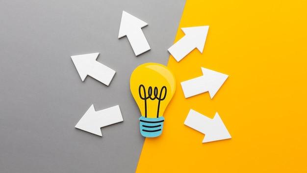 Composición abstracta de vista superior con elementos de innovación