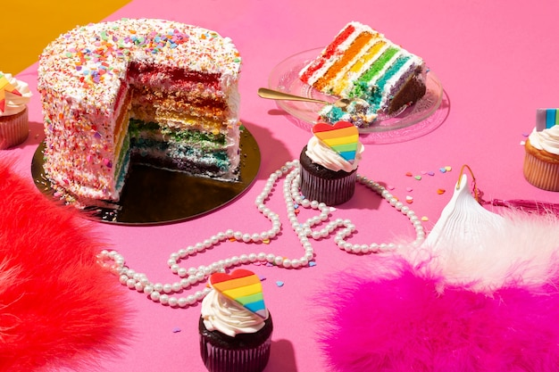 Composición de alimentos bodegones del día mundial del orgullo