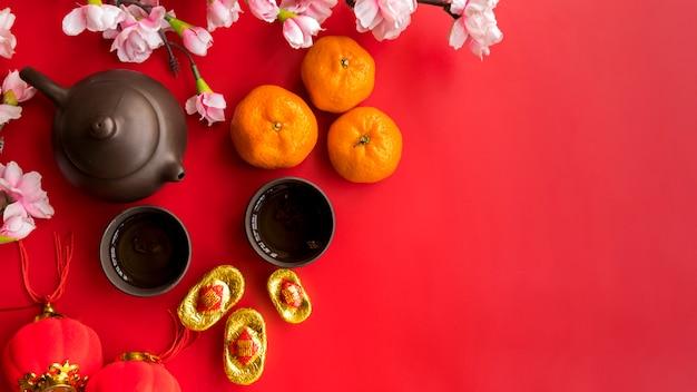 Composición de año nuevo chino de vista superior con copyspace