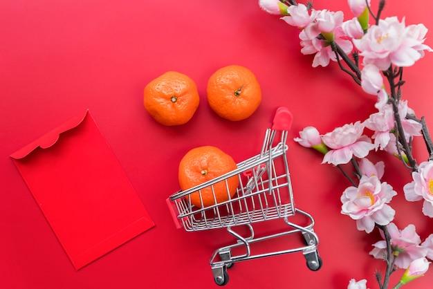 Composición de año nuevo chino de vista superior