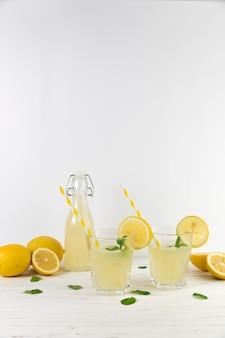 Composición de arreglo de limonada casera fresca.