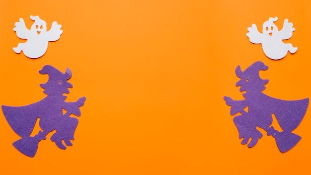 Composición de brujas y fantasmas para la noche de halloween