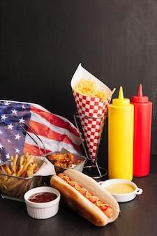 Composición de comida rápida americana