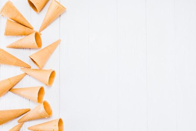 Composición de los conos de waffle vacíos para helado.