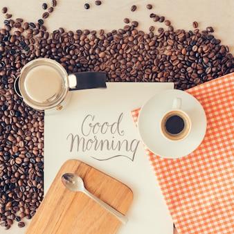 Composición creativa de café