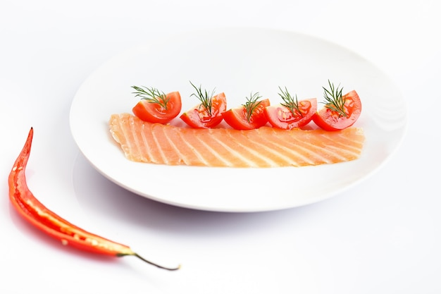 Composición creativa en un plato blanco con condimentos picantes.