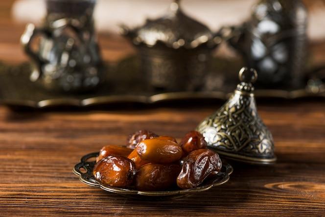 Composición de comida arabe para ramadan