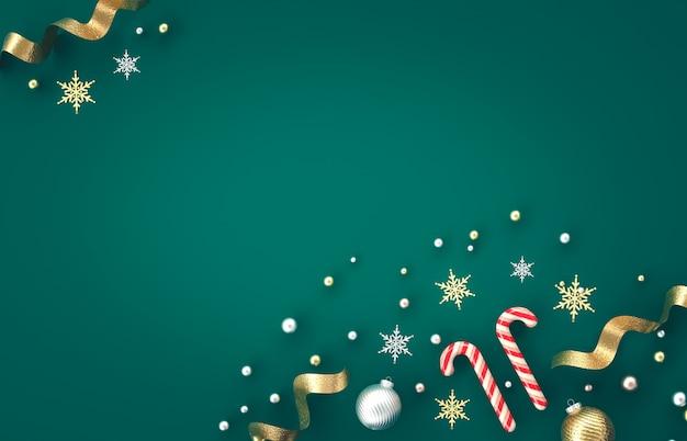 Composición de decoración 3d de navidad con bastón de caramelo, bola de navidad, copo de nieve sobre fondo verde. navidad, invierno, año nuevo. endecha plana, vista superior, copyspace.