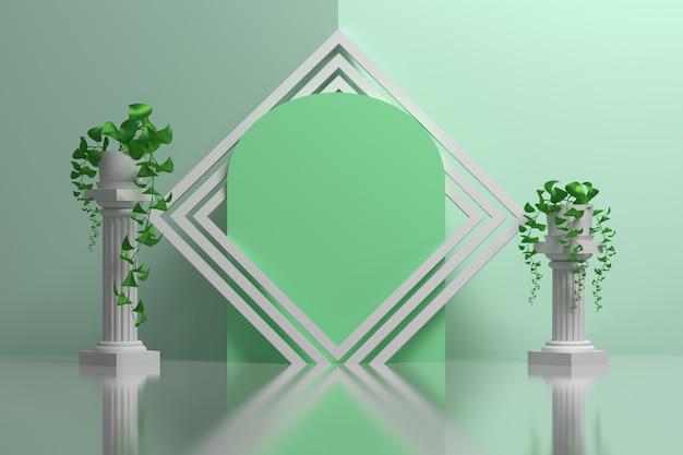 Composición delicada verde con columnas de estilo griego y plantas en maceta