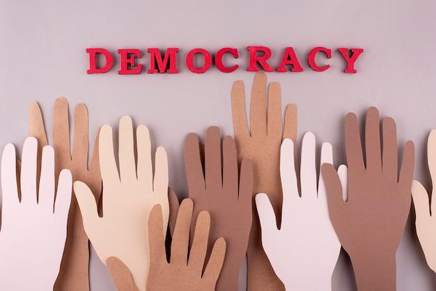 Composición de democracia de estilo de papel de vista superior