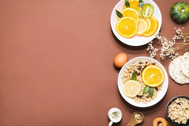 Composición de desayuno sano