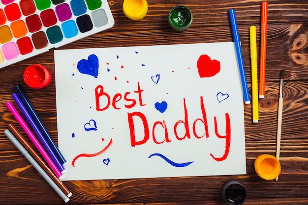 Composición para el día del padre con dibujo de niño