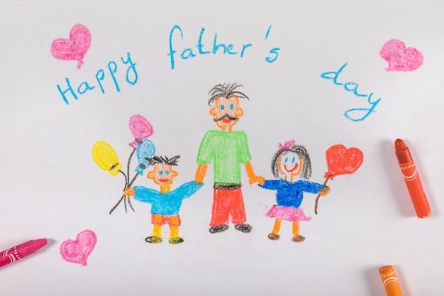 Composición para el día del padre con dibujo