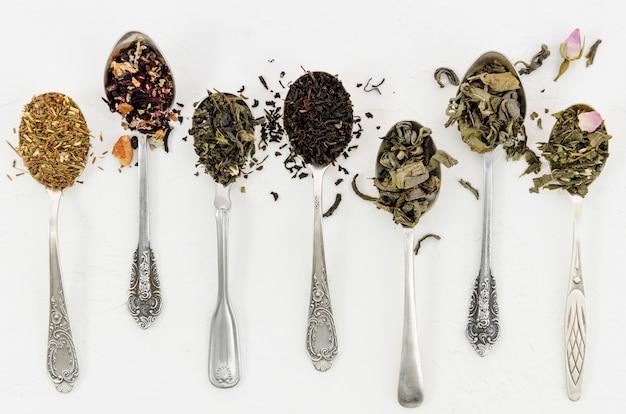 Composición de diferentes hojas de té