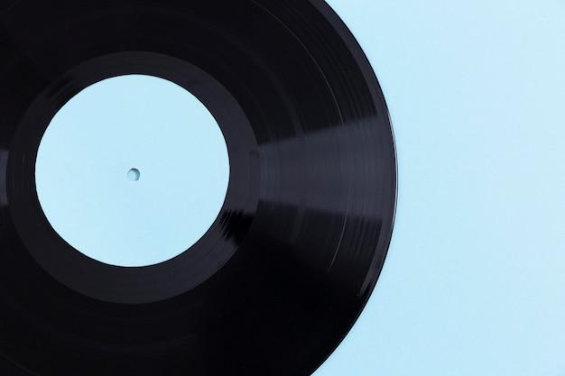 Composición de disco de vinilo de vista superior