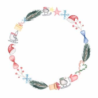 Composición de diseño de corona de navidad de ramas de abeto, patines, estrella, caja de regalo, gorro de santa, copo de nieve, acebo y otros. portada, invitación, pancarta, tarjeta de felicitación.