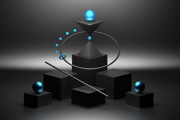 Composición de equilibrio simétrico con formas primitivas cubos esferas en color negro