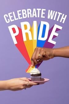 Composición de la fiesta del día mundial del orgullo con cupcake
